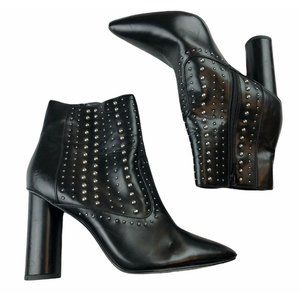 Black Faux Leather Studded Bootie Ankle Boot